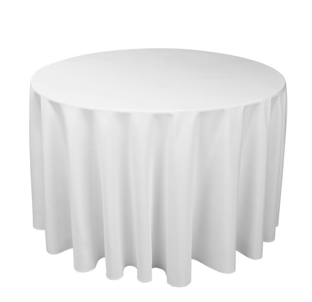 Denby Hire White Polycotton Tablecloth Fits 5ft Round